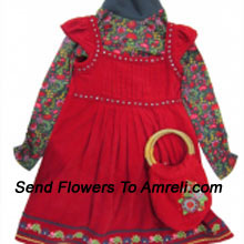 A Cute Designer Frock For Your Princess With A Matching Bag. (You Can Mention Size Required/Age Of Kid In The