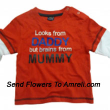 "productA Very Adorable T-Shirt For Your Baby. (You Can Mention Size Required/Age Of Kid In The ""Special Request To Florist"" Column Which Will Appear During The Shopping Process)"