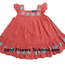 """productAn Exclusive Designer Frock For Your Little Angel. (You Can Mention Size Required/Age Of Kid In The """"Special Request To Florist"""" Column Which Will Appear During The Shopping Process)"""