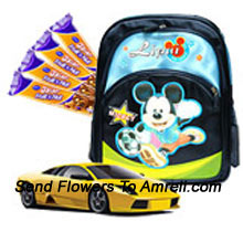A Combo That Includes A Mickey Mouse School Bag , A Hot Wheels Car And Five 5 Star Chocolates ( The Color Of The Products May Vary Subject To The Availability )