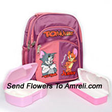 A School Combo That Includes A Tom And Jerry School Bag, Lunch Box And A Pencil Box ( The Color Of The Products May Vary Subject To The Availability )