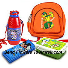 A School Combo That Includes A Cartoon Character School Bag, Lunch Box, Pencil Box And A Water Bottle ( The Color Of The Products May Vary Subject To The Availability )
