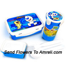 A School Combo That Includes A Cartoon Character Lunch Box And A Sipper ( The Color Of The Products May Vary Subject To The Availability )