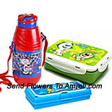 A School Combo That Includes A Cartoon Character Lunch Box, Pencil Box And A Sipper ( The Color Of The Products May Vary Subject To The Availability )