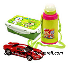 productA Combo That Includes A Cartoon Character Lunch Box, A Water Bottle And A Hot Wheels Car ( The Color Of The Products May Vary Subject To The Availability )