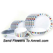 product29 Pieces Corelle Dinner Set That Includes 6 Dinner Plates, 6 Quarter Plates, 6 Soup Bowls, 6 Vegetable Bowls, 1 Oval Serving Platter (Big), 1 Oval Serving Platter (Small), 1 Serving Bowl, One Curry Bowl And One Lid (Please Note That The Design May Vary According To The Availability And This Product Is Disptached From Head Office And Can Take 3-6 Working Days To Arrive)