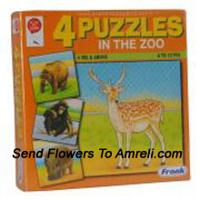 Frank 4 Puzzles In The Zoo. Great Puzzle That Helps Children To Get Used To Different Shapes And Familiarizes Them With Different Wild Animals. Kids Above 4 Years Are Sure To Enjoy And Solve This Puzzle Well.