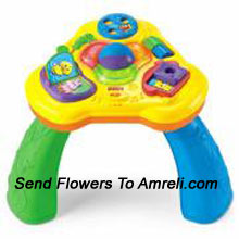 productLight And Sound Activity Table. Spin The Large Roller Ball And Hear A Fun Tune Or Sound Effect. Lights Start Dancing From The Colourful Table Top As The Music Begins.