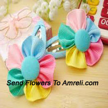 A Pair Of Colored Flower Shaped Hair Clips
