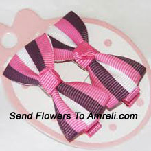 Pair Of Bow Shaped Colored Hair Clips