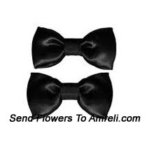 A Pair Of Bow Shaped Black Colored Hair Clips