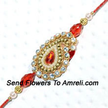 Simply Exclusive! An Attractive Designer Rakhi To Make Your Brother Feel Special ( Please Note That In Case Of Non-Availability Of A Certain Product We Will Substitute The Same With A Suitable Product Of Equal Or Higher Value As Per Prices On The Website. The Products Under This Category Needs To Be Accompanied With The Other Products.)