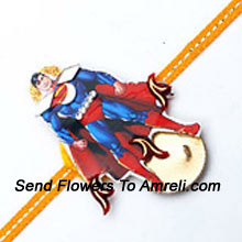 A Super Man Rakhi For Your Super Brother ( Please Note That In Case Of Non-Availability Of A Certain Product We Will Substitute The Same With A Suitable Product Of Equal Or Higher Value As Per Prices On The Website. The Products Under This Category Needs To Be Accompanied With The Other Products.)