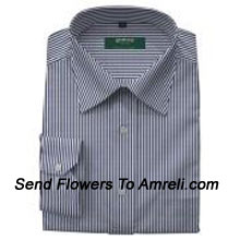 Arrow-Mens Full Sleeves Formal Stripes Shirt. This Brand Was Established In 1851. It Is An American Lifestyle Brand For The Discerning And Sophisticated Man. (You Can Mention Size Required In The