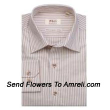 """productWills Lifestyle-Mens Full Sleeves Formal Stripes Shirt. Experience A New Language Of Charming Sophistication With This Brand. (You Can Mention Size Required In The """"Special Request To Florist"""" Column Which Will Appear During The Shopping Process Otherwise Standard Size Shirt """"40"""" Will Be Delivered.)"""