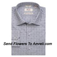 """productWills Lifestyle-Mens Full Sleeves Formal Checks Shirt. Experience A New Language Of Charming Sophistication With This Brand. (You Can Mention Size Required In The """"Special Request To Florist"""" Column Which Will Appear During The Shopping Process Otherwise Standard Size Shirt """"40"""" Will Be Delivered.)"""