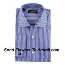 """productZodiac-Mens Full Sleeves Formal Stripes Shirt. Showing The Epitome Of New Age Luxury. (You Can Mention Size Required In The """"Special Request To Florist"""" Column Which Will Appear During The Shopping Process Otherwise Standard Size Shirt """"40"""" Will Be Delivered.)"""