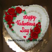 1Kg (2.2 Lbs) Heart Shaped Vanilla Cake
