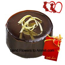 1Kg (2.2 Lbs) Chocolate Truffle Cake With A Valentine's Day Card