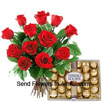 A Bunch Of 12 Red Roses With A Box Of 24 Pieces Ferrero Rocher