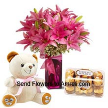 Lilies In A Vase, Box of 16 Pieces Ferrero Rocher Chocolates And A Medium Size Cute Teddy Bear