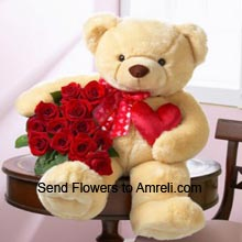 3 Feet Tall Teddy Bear With A Bunch Of 24 Red Roses