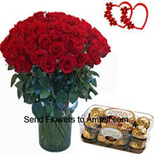 36 Red Roses In A Vase And A Box Of 16 Pieces Ferrero Rocher