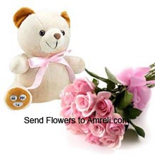 Bunch Of 12 Pink Roses And A Medium Size Teddy Bear