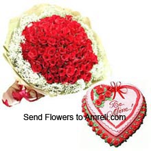 productA Bunch Of 100 Red Roses With 1Kg (2.2 Lbs) Heart Shaped Strawberry Cake