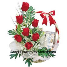Basket Of 12 Red Roses With A Box Of 16 Pieces Ferrero Rocher