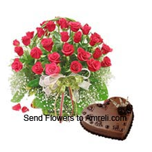 productA Basket Of 30 Red Roses With 1Kg (2.2 Lbs) Heart Shaped Chocolate Cake