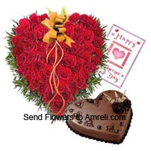 Heart Shaped Arrangement Of 50 Red Roses With 1Kg (2.2 Lbs) Heart Shaped Chocolate Cake And A Valentine's Day Greeting Card