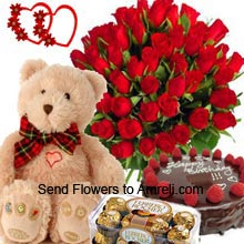 Bunch Of 36 Red Roses, 1/2Kg (1.1 Lbs) Chocolate Truffle Cake, Box Of 16 Pieces Ferrero Rocher Chocolates And A Medium Size Cute Teddy Bear