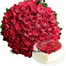 productA Bunch Of 75 Red Roses With 1Kg (2.2 Lbs) Heart Shaped Strawberry Cake