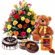 Arrangement Of 24 Mixed Color Roses, 1Kg (2.2 Lbs) Black Forest Cake, Box Of Danish Butter Cookies,  Medium Size Teddy Bear And A Box Of Chocolates