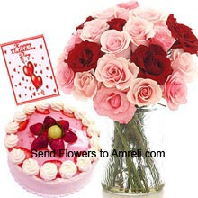 product18 Red And Pink Roses In A Vase, Half Kg Strawberry Cake With A Valentine's Day Greeting Card