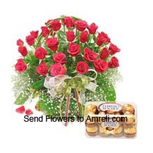 productArrangement Of 30 Red Roses With A Box Of 16 Pieces Ferrero Rocher Chocolates