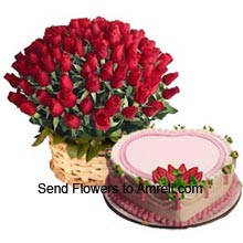 productBasket Of 100 Red Roses With 1Kg (2.2 Lbs) Heart Shaped Strawberry Cake