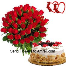 productBunch Of 30 Red Roses With 1/2Kg (1.1 Lbs) Butter Scotch Cake