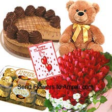 productA Bunch Of 50 Red Roses, 1/2Kg (1.1 Lbs) Chocolate Cake, Medium Size Cute Teddy Bear, Box of 16 Pieces Ferrero Rocher Chocolates And A Valentine's Day Greeting Card