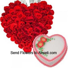 productHeart Shaped Arrangement Of 100 Red Roses With 1Kg (2.2 Lbs) Heart Shaped Strawberry Cake