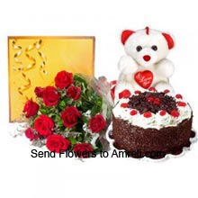 productA Bunch Of 12 Red Roses, 1Kg (2.2 Lbs) Black Forest Cake, Medium Size Cute Teddy Bear With A Heart And A Box Of Cadbury's Celebration Pack