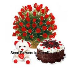 productArrangement Of 40 Red Roses, 1Kg (2.2 Lbs) Black Forest Cake And A Medium Size Cute Teddy Bear With A Heart