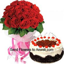 productA Bunch Of 24 Red Roses With 1Kg (2.2 Lbs) Black Forest Cake