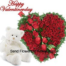 productA Beautiful Heart Shaped Arrangement Of 150 Red Roses With 1.5 Feet Tall Teddy Bear