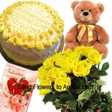 productA Bunch Of 12 Yellow Roses, Medium Size Cute Teddy Bear, 1Kg (2.2 Lbs) Pineapple Cake With A Valentine's Day Greeting Card