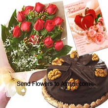 productA Beautiful Bunch Of 12 Red Roses, 1Kg (2.2 Lbs) Chocolate Truffle Cake With A Valentine's Day Greeting Card