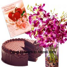 productFresh Orchids In A Vase, 1/2 Kg (1.1 Lbs) Chocolate Cake With A Valentine's Day Greeting Card