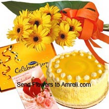 productA Bunch Of 10 Yellow Daisies, 1Kg (2.2 Lbs) Pineapple Cake, Small Box Of Cadbury's Celebration Pack With A Valentine's Day Greeting Card