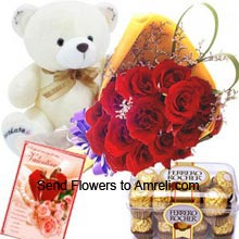 productA Beautiful Bunch Of 12 Red Roses, Box of 16 Pieces Ferrero Rocher Chocolates, Medium Size Cute Teddy Bear With A Valentine's Day Greeting Card